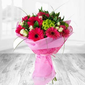 Pink Gerbera Bunch: Mothers day flowers and greeting cards Phagwara,  India