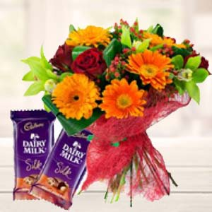 Mix Flowers With Chocolates: Gifts For Husband Surat,  India