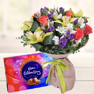 Mix Flowers With Celebrations Pack: Mothers day flowers chocolates Bhatinda,  India