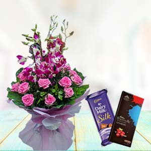 Orchids With Chocolates: Gift For Friends Vijayawada,  India