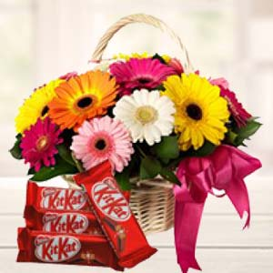 Gerbera Basket With KitKat Chocolates: Good luck Allahabad,  India