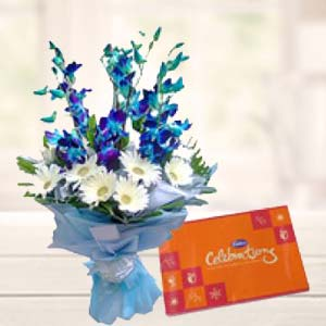 Blue Orchids With Celebrations Pack: Mothers day flowers chocolates Bareilly,  India