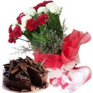 Carnations Combo: Mothers day flowers chocolates Gwalior,  India