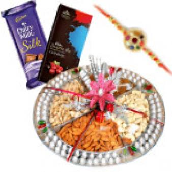 Dry Fruits Rakhi Thali: Rakhi Gurgaon,  India