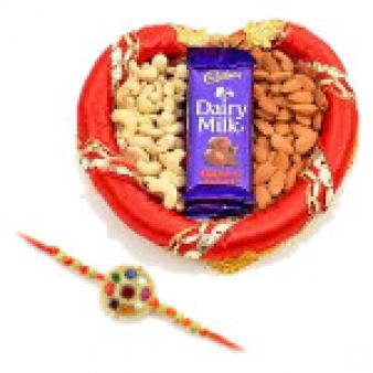 Dry Fruits Thali With Rakhi: Rakhi Kapurthala,  India
