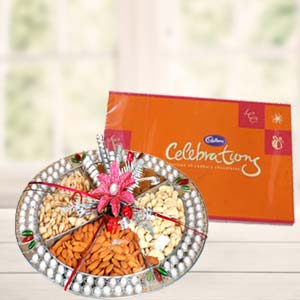 Dryfruit Basket With Cadbury Celebrations: Gifts For Sister Mumbai,  India