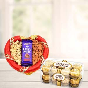 Dry Fruits Combo With Ferrero Rocher: 1st birthday gifts Secundrabad,  India