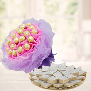 Ferrero Rocher Bouquet With Sweets: 1st birthday gifts Secundrabad,  India