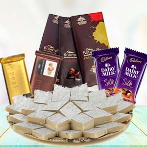 Sweets Combo With Assorted Chocolates: Gifts For Sister Imphal,  India