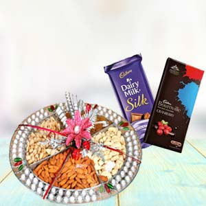 Dry Fruits Thali With Chocolates: 1st birthday gifts Ujjain,  India