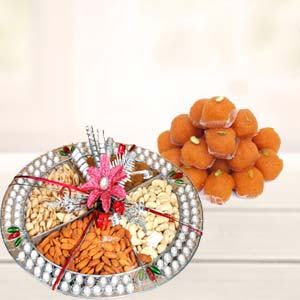 Dry Fruits Thali With Motichoor Laddoo: Gifts For Brother Gurgaon,  India