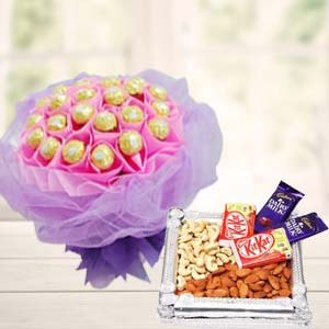 Ferrero Rocher Bunch With Combo Thali: Gifts For Sister Ghaziabad,  India