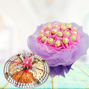 Ferrero Rocher With Dry Fruits Thali: Diwali Gifts Sangli,  India