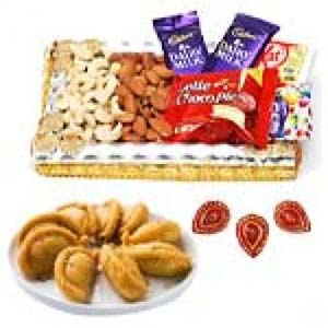 Ghujiya Sweets With Dry Fruits Thali: Rakhi Mumbai,  India
