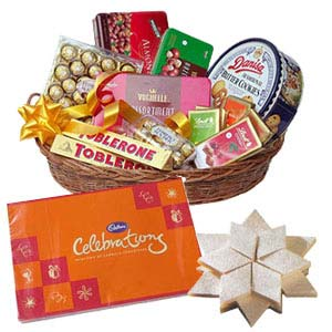 Assorted Chocolates Basket With Kaju Katli: Diwali Gifts Haldwani,  India
