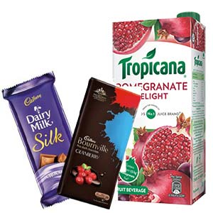Tropicana Pomegranate With Chocolates: 1st birthday gifts Secundrabad,  India