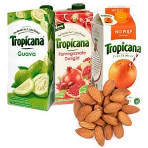 Tropicana Juice Combo With Dry Fruits: 1st birthday gifts Dhanbad,  India