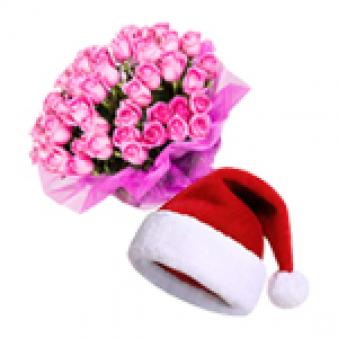Christmas Celebration With Pink Roses: Christmas Ludhiana,  India