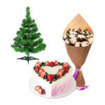 Christmas Gifts With Heart Shape Cake: Christmas Shimla,  India