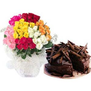 Mixed Roses Combo: Anniversary flowers & cake Dhanbad,  India