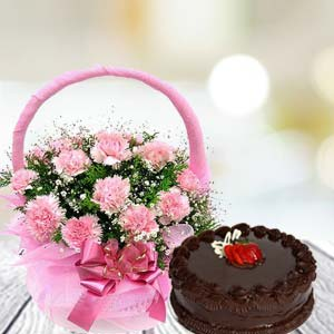 Pink Carnation Combo: Karwa Chauth Gifts  India