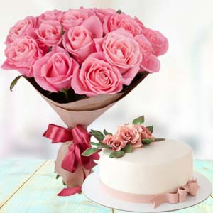 Pink Roses With Cream Cake: Birthday flowers & cake Varanasi,  India