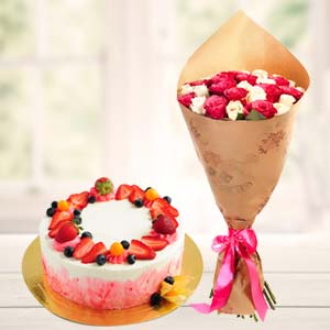 Strawberry Fruit Cake With Roses: Rose Day Latur,  India