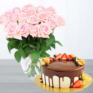 Pink Roses With Chocolate Fruit Cake: Valentine Gifts For Wife Dehradun,  India