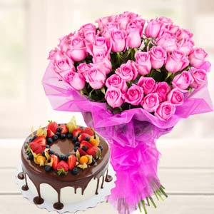 Chocolate Fruit Cake With Pink Roses: Birthday flowers Chennai,  India
