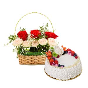 Mix Roses With Fruit Cake: 1st birthday gifts Panchkula,  India
