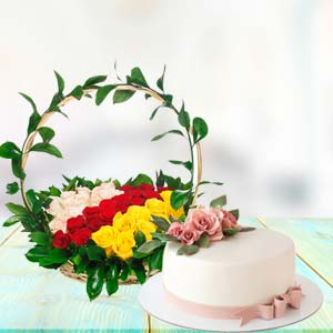 Mix Roses With Cake Combo: Birthday flowers & cake Faizabad,  India