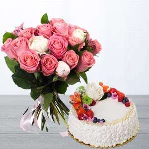 Pink Roses Gifts Combo: 1st birthday gifts Ujjain,  India