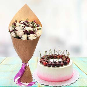 White Roses With Cherry Cake: Gifts For Sister Indore,  India