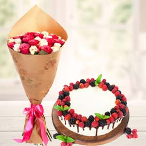 Mix Roses With Cherry Fruit Cake: Birthday flowers & cake Thiruvananthapuram,  India