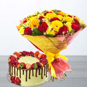Mix Roses With Butterscotch Fruit Cake: Birthday flowers & cake Ambala,  India