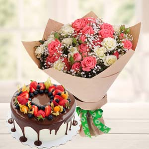 Vanila Chocolate Fruit Cake Combo: 1st birthday gifts Secundrabad,  India