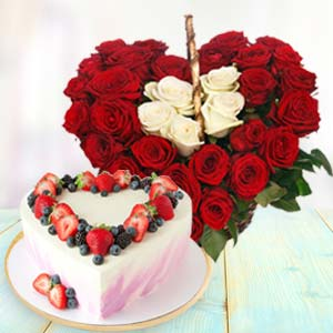 Heart Shaped Combo Gifts: Anniversary flowers & cake Delhi,  India