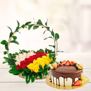 Chocolate Fruit Cake With Roses Basket: Birthday flowers & cake Junagadh,  India