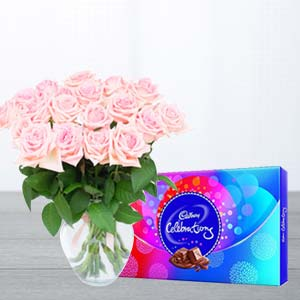 Pink Roses And Chocolates : Mothers day flowers Mohali,  India