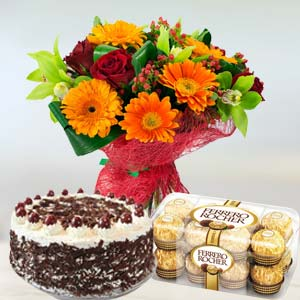 Mixed Flowers Combo: Birthday flowers & cake Hissar,  India