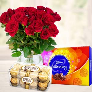 Red Roses With Chocolate Gifts: Mothers day flowers chocolates Bhagalpur (bihar),  India