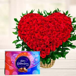 Red Roses With Chocolate Gifts: Anniversary flowers & chocolates Mysore,  India