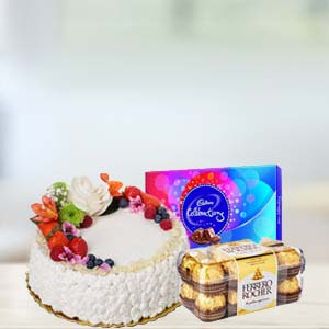 Fruit Cake With Chocolates Combo: Mothers day Ludhiana,  India