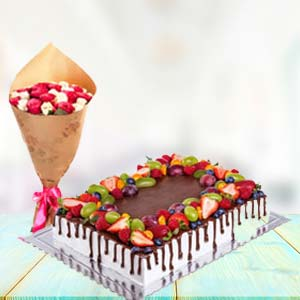 2 KG Chocolate Cake Gifts Combo: Birthday flowers & cake Varanasi,  India