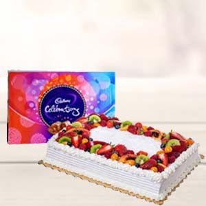 2 KG Pineapple Fruit Cake: Birthday chocolates Mathura,  India