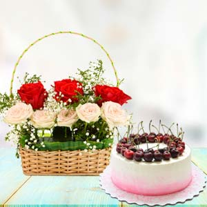 Flowers With Cherry Cake: Unique birthday gifts Gurdaspur,  India