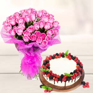 Roses With Cake Gifts Combo: Birthday flowers & cake Karnal,  India