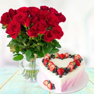 Flowers With Heart Shape Cake: Rose Day Hissar,  India