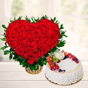 Flowers With Fresh Fruit Cake: Anniversary flowers & cake Dhanbad,  India