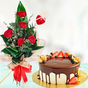 Flowers With Chocolate Fruit Cake: Gifts For Sister Indore,  India